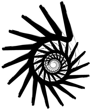 gyration: Geometric circular spiral. Abstract angular, edgy shape in rotating fashion Illustration