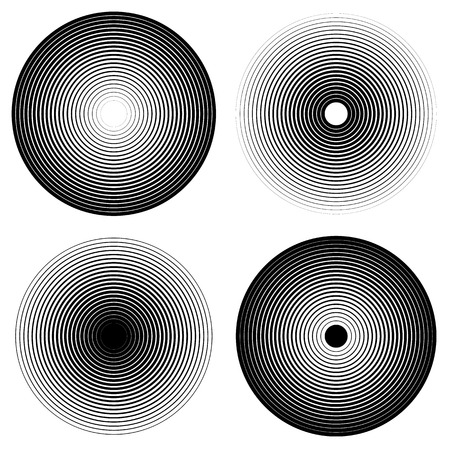 ripple: Set of 4 concentric circle elements. Ripple, radiating circles. Monochrome shapes.