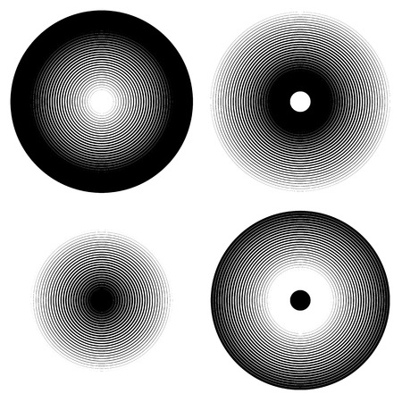 abstractionism: Set of 4 concentric circle elements. Ripple, radiating circles. Monochrome shapes.
