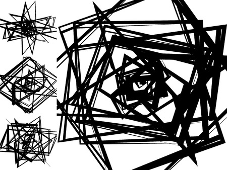 irregular shapes: Abstract patterns with random, chaotic edgy shapes, irregular, dynamic lines. Monochrome elements