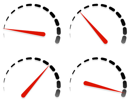 Dial, meter templates with red need and units set at 4 stages, levels. Generic indicator, measurement icons without text. Progression, low-high, acceleration concepts. Vetores