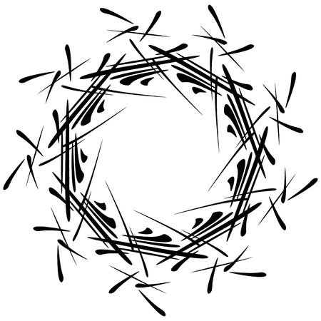deformed: Circular design with distortion effect. Abstract monochrome element on white. Distorted, deformed spiral with circles.