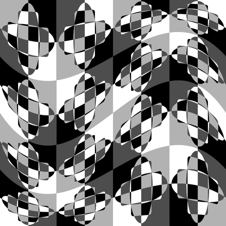 billow: Geometric pattern with ripple, wavy distortion, warp effect. Abstract monochrome texture  background Illustration