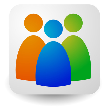 companionship: Icon with three figures - Businessmen, characters, employment, HR (human resources) icon