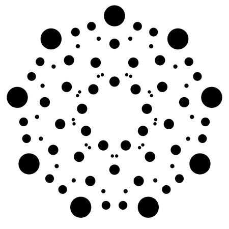 speckle: Dots, circles radial, radiating motif, element. Abstract minimal halftone, pointillist design