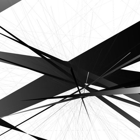 harsh: Abstract edgy, geometric vector art, monochrome angular illustration with random, chaotic overlapping shapes. Rough, harsh texture. Illustration