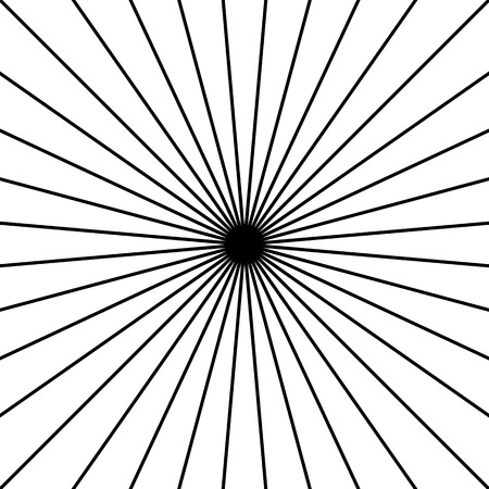 intersecting: Radial, radiating straight thin lines. Circular black and white abstract minimal illustration. Intersecting lines at center.