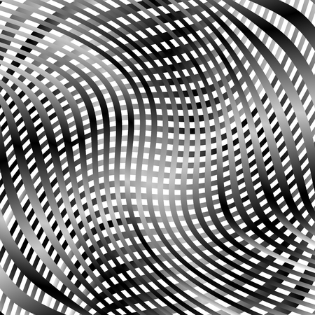 flexion: Grid, mesh pattern with distortion. Abstract geometric pattern. Illustration