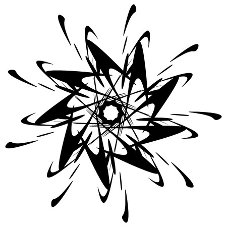 Circular design with distortion effect. Abstract monochrome element on white. Distorted, deformed spiral with circles.