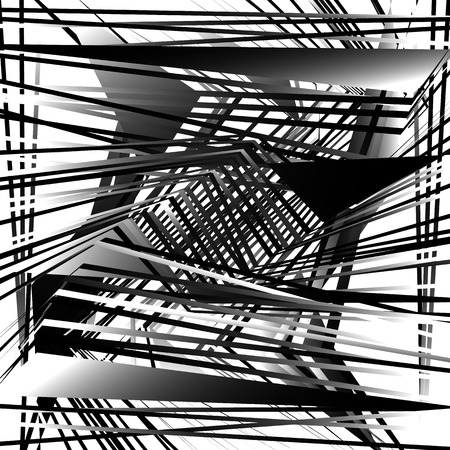 harsh: Random, chaotic grayscale, monochrome geometric texture. Abstract modern, contemporary art