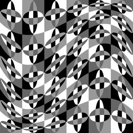 distortion: Geometric pattern with ripple, wavy distortion, warp effect. Abstract monochrome texture  background Illustration