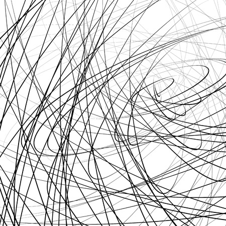 squiggly: Random squiggly, squiggle intersecting lines in chaotic style. Abstract monochrome background  texture with distorted lines. Illustration