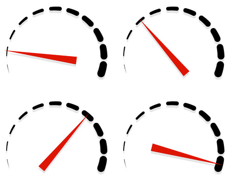 progression: Dial, meter templates with red need and units set at 4 stages, levels. Generic indicator, measurement icons without text. Progression, low-high, acceleration concepts.