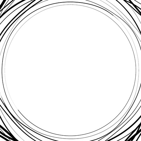 asymmetric: Irregular  asymmetric radiating circular abstract geometric element. Monochrome vector illustration. Radial rings, lines Illustration