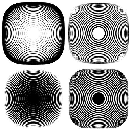 b w: Radial, concentric shape set. Abstract monochrome graphics.