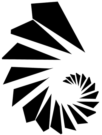 gyration: Geometric shape - Angular edgy element on white.