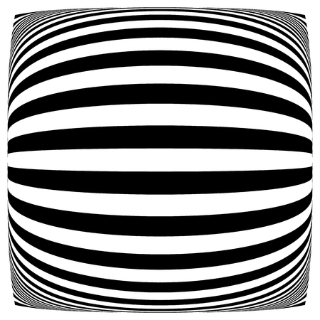concave: Lines with deformation effect. Abstract uncolored, monochrome illustration.