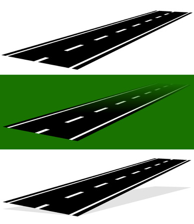diminishing view: Vanishing, fading two-lane road in versions. Simple perspective, fading, and version with shadow.