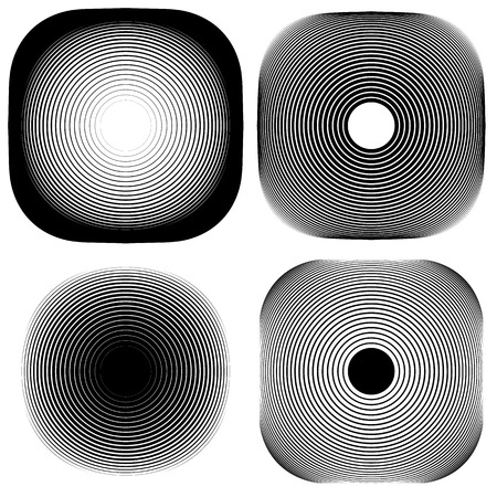 monocrome: Radial, concentric shape set. Abstract monochrome graphics.