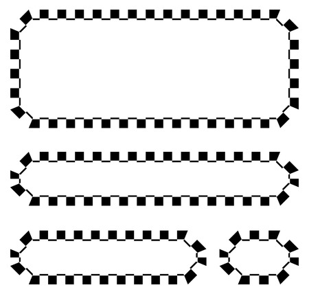 motorsports: Set of blank banners, plaques with checkered borders for racing, auto sport, motor sport, gokart themes. checkered borders, frames Illustration