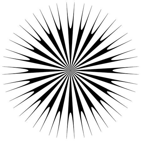 Abstract geometric circular element. Radiating irregular shape. Illustration