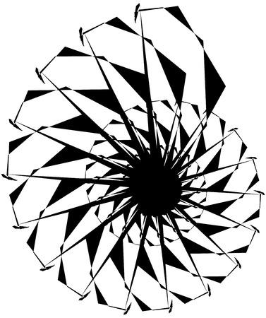 Geometric circular spiral. Abstract angular, edgy shape in rotating fashion