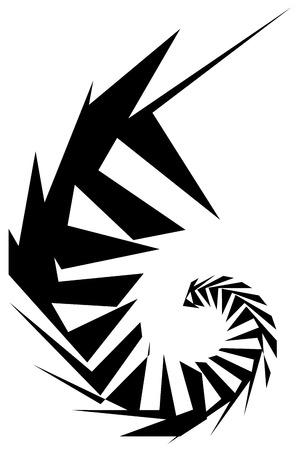 angular: Geometric shape - Angular edgy element on white.