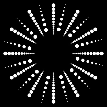 speckle: Dotted radial, radiating lines. Circular dots motif. Abstract black and white, monochrome design element