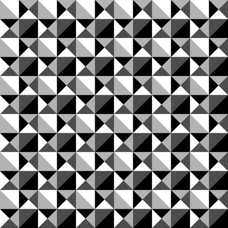 tessellation: Seamlessly repeatable black and white mosaic pattern. Tessellation, geometric grayscale background Illustration