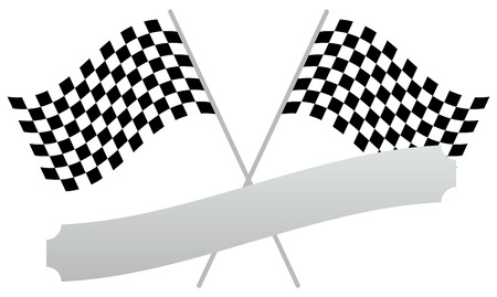 two crossed checkered flags: 2 crossed racing flags with empty banner, plaque shape for texts