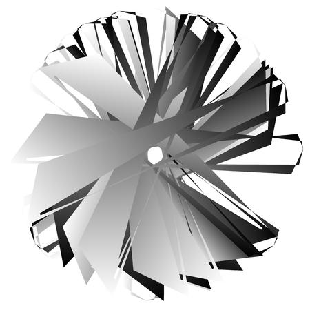 angular: Edgy, angular geometric element. Abstract circular shape on white. Illustration