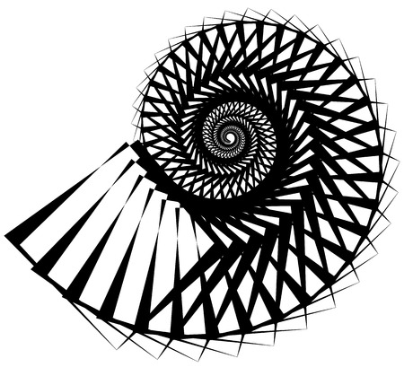 Geometric, angular snail, helix, volute element isolated on white. Abstract monochrome  non-figural illustration. Illustration