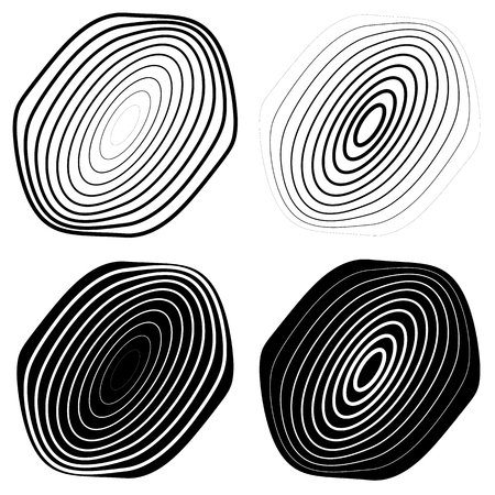 abstractionism: Radial, concentric shape set. Abstract monochrome graphics.
