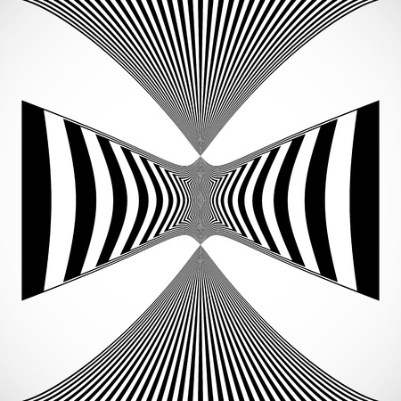 deform: Vertical stripes, lines with distortion, warp effect. Abstract monochrome geometry illustration. Illustration