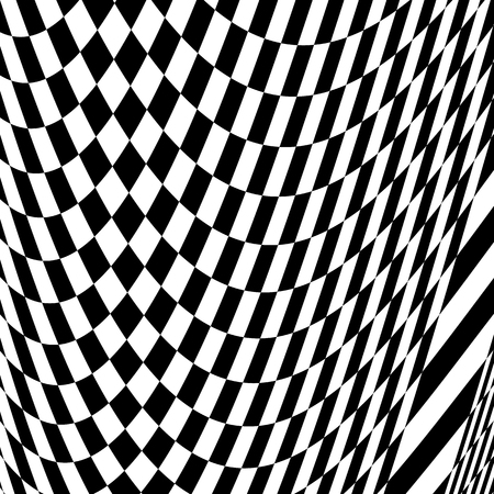 misshapen: Checkered pattern with warp, distortion. abstract geometric illustration Illustration