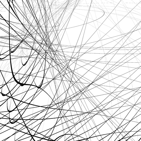 squiggle: Random squiggly, squiggle intersecting lines in chaotic style. Abstract monochrome background  texture with distorted lines. Illustration