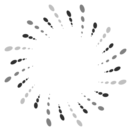revolve: Twist, spiral shape with circles. Rotating dotted element. Abstract grayscale, black and white (monochrome) circular graphics Illustration