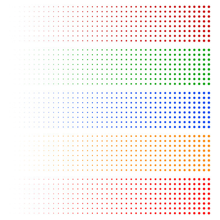 fading: Halftone elements. Fading circles in 5 colors.