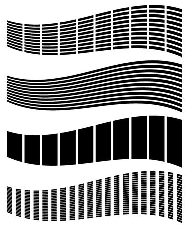 equaliser: Warped, distorted rectangles, vertical, horizontal lines. Set of different EQ, equalizer shapes, elements.