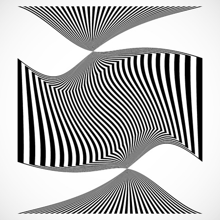 distortion: Vertical stripes, lines with distortion, warp effect. Abstract monochrome geometry illustration. Illustration