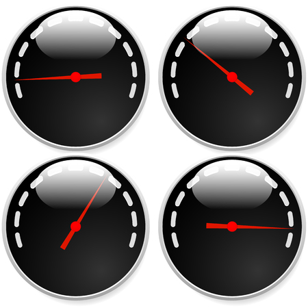 Dial-Meter-Vorlagen mit roten Bedarf und Einheiten eingestellt auf 4 Stufen, Ebenen. Generisches Indikator, Mess Symbole ohne Text. Progression, tief-hoch, Beschleunigung Konzepte. Vektorgrafik