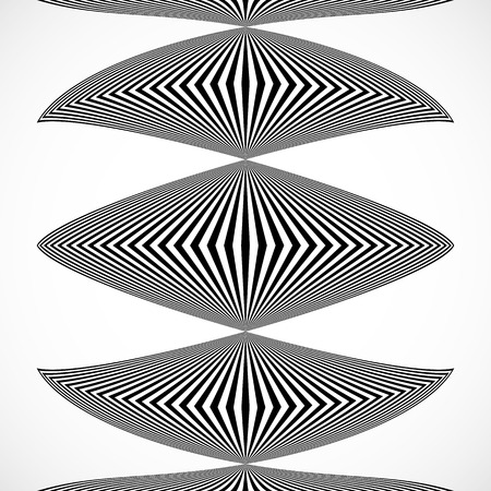 abstractionism: Vertical stripes, lines with distortion, warp effect. Abstract monochrome geometry illustration. Illustration