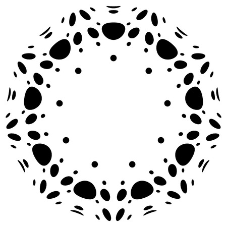 flecks: Circular design with distortion effect. Abstract monochrome element on white. Distorted, deformed spiral with circles.