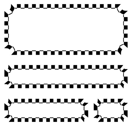 plaques: Set of blank banners, plaques with checkered borders for racing, auto sport, motor sport, gokart themes. checkered borders, frames Illustration