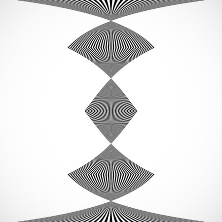 warp: Vertical stripes, lines with distortion, warp effect. Abstract monochrome geometry illustration. Illustration