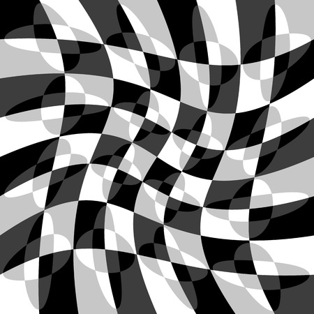 ripple effect: Geometric pattern with ripple, wavy distortion, warp effect. Abstract monochrome texture  background Illustration