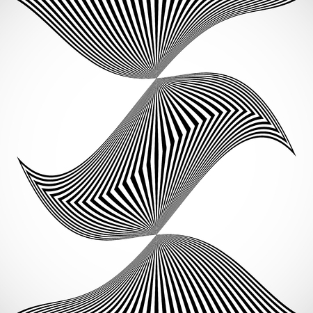 anomalous: Vertical stripes, lines with distortion, warp effect. Abstract monochrome geometry illustration. Illustration