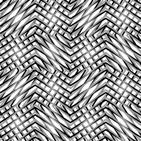 grating: Grid, mesh, of zigzag, edgy lines. Mosaic like grill, grating background. Seamlessly repeatable abstract texture. Illustration