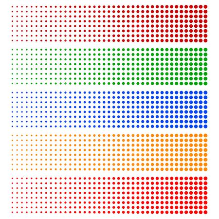 flecks: Halftone elements. Fading circles in 5 colors.
