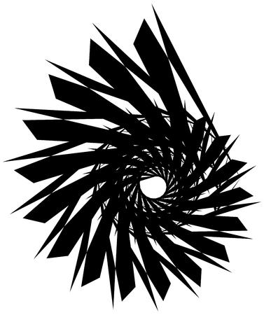 angular: Geometric circular spiral. Abstract angular, edgy shape in rotating fashion Illustration